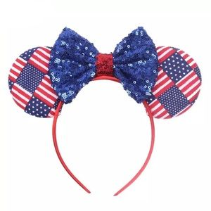 Minnie Mouse Red, White & Blue Headband with Bow